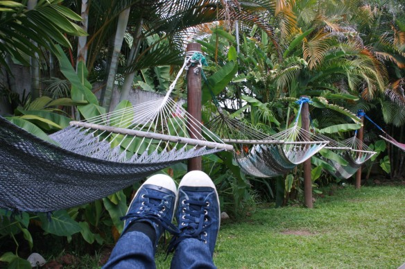 After a delicious breakfast you need to chill in the hammocks. That is a rule!!!