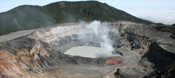 Poas volcano is one of 5 active volcanoes in Costa Rica