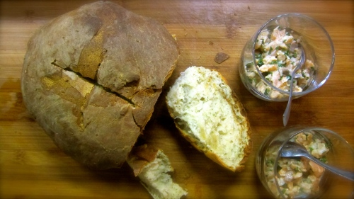 Salmon tartare and home baked bread with rosemary and thyme