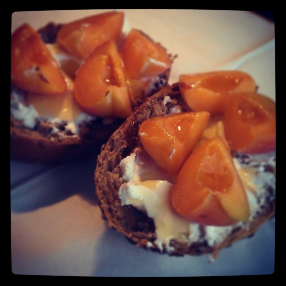 "Fresh bread, goats' cheese, apricots and honey. All i can say is: ""yumm, yumm, yumm!!!"""